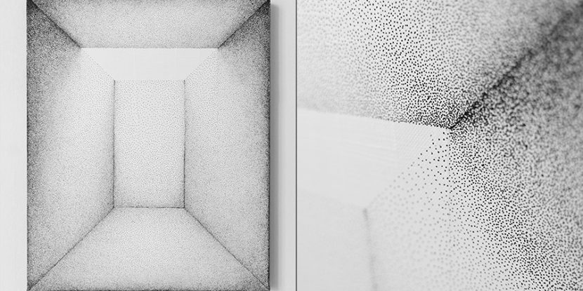 A painting depicting a space defined by the canvas' frame boundaries. made with Tip pen on canvas