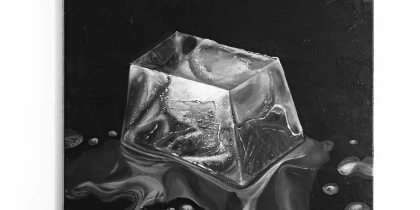 A painting depicting a ice cube melting on a black background.